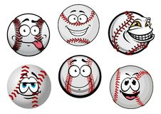Smiling baseball balls cartoon characters Royalty Free Stock Photo
