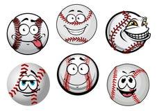 Smiling baseball balls cartoon characters Royalty Free Stock Photo