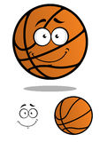 Smiling basketball ball cartoon mascot. Orange friendly smiling basketball ball with shadow and another one without smiling face isolated on white background for Royalty Free Stock Images