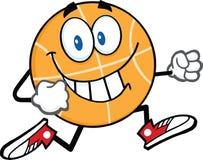 Smiling Basketball Cartoon Character Running Royalty Free Stock Photography
