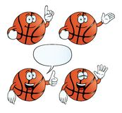 Smiling basketball set. Collection of smiling basketballs with various gestures Royalty Free Stock Images