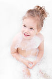 Smiling at the bath little girl Royalty Free Stock Images