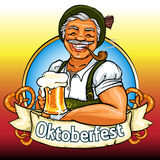 Smiling Bavarian man with beer and smoking pipe. Oktoberfest label with ribbon banner and space for text, isolated Royalty Free Stock Image