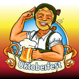 Smiling Bavarian man with beer and smoking pipe. Oktoberfest label with ribbon banner and space for text, isolated Stock Photography