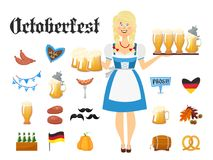 Smiling Bavarian woman blonde dressed in traditional costume and apron with beer glasses and set of Oktoberfest icons. Smiling Bavarian woman dressed in Stock Photography