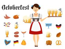 Smiling Bavarian woman brunette dressed in traditional costume and apron with beer glasses and set of Oktoberfest icons. Smiling Bavarian woman dressed in Stock Photography