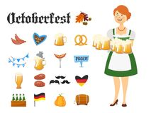 Smiling Bavarian woman dressed in traditional costume and apron with beer glasses and set of Oktoberfest icons. Smiling Bavarian woman dressed in traditional Stock Photo