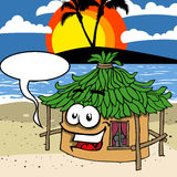Smiling beach hut with speech bubble Stock Image