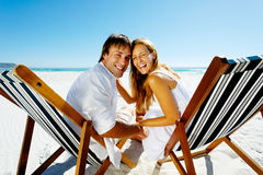 Smiling beach portrait couple Stock Photos