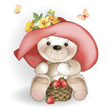 Smiling Bear in the big hat sitting with a basket of strawberrie Royalty Free Stock Photo