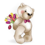 Smiling Bear with a bouquet Stock Photo
