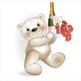Smiling Bear with champagne and a bouquet of red flowers Stock Image