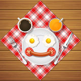 Smiling bear make with fried eggs and sausage and beverage Stock Image