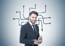 Smiling bearded businessman, arrow maze, planner Royalty Free Stock Photos