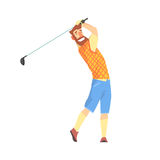 Smiling bearded cartoon golf palyer character taking a swing vector Illustration Stock Photos