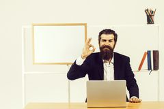 Employee showing OK sign royalty free stock images