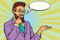 Smiling bearded hipster promoter gesture of businessman royalty free illustration