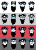Smiling bearded man boy face with big eyes Royalty Free Stock Images