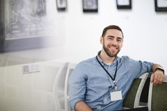 Smiling Bearded Man in Museum stock images