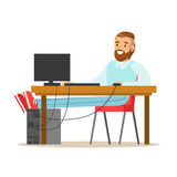 Smiling bearded man working on a computer at his desk, colorful character vector Illustration Royalty Free Stock Images