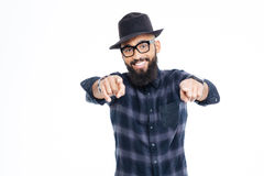 Smiling bearded young african american man pointing in camera Stock Photography