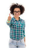Smiling beautiful african american teenage girl thumbs up isolat Stock Images