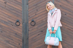 Smiling beautiful blonde woman Stock Photo