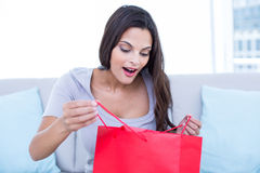 Smiling beautiful brunette sitting on the couch with shopping bag Royalty Free Stock Images