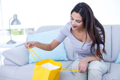 Smiling beautiful brunette sitting on the couch with shopping bag Stock Image