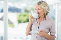 Smiling beautiful businesswoman drinking tea Stock Photos