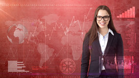 Smiling beautiful businesswoman in glasses close up portrait, drawing business concept background Stock Photography