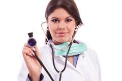 Smiling beautiful doctor stethoscope Stock Photos