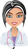 Smiling Beautiful Doctor with Sthetoscope stock illustration