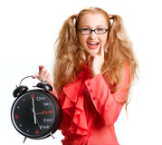 Smiling Beautiful girl with a big clock Stock Photography