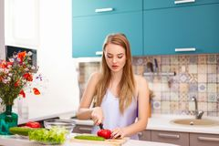 Beautiful girl making salad in the kitchen royalty free stock photos