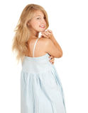 Smiling beautiful girl in blue dress Royalty Free Stock Images