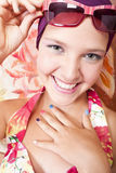 Smiling beautiful girl with colored nails Stock Images