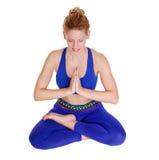 Smiling beautiful girl practicing yoga  in siddhasana Stock Photos