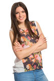 Smiling beautiful long haired woman with crossed arms. Isolated on white background royalty free stock photo