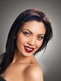 Smiling beautiful model portrait. red lips Royalty Free Stock Photos