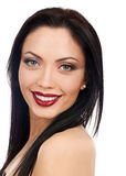 Smiling beautiful model. red lips Stock Photography