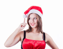 Smiling beautiful in Santa Claus clothes girl Royalty Free Stock Photos
