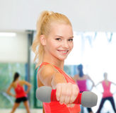Smiling beautiful sporty woman with dumbbell Royalty Free Stock Photo
