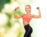 Smiling beautiful sporty woman with dumbbells Stock Images