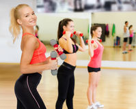 Smiling beautiful sporty woman with dumbbells Stock Photography