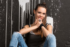 Smiling beautiful stylish young woman Royalty Free Stock Photos