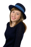 Smiling beautiful teenage girl with navy hat Stock Images