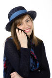 Smiling beautiful teenage girl with navy hat Royalty Free Stock Image