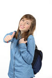 Smiling beautiful teenage girl with a school backpack Royalty Free Stock Photos