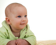 Smiling beautiful three months old baby boy Stock Images
